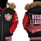 Womens Black Red Wool Negro League jacket Lady's Red Wool Negro League Jacket