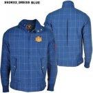Blue Plaid long sleeve jacket Live Mechanics Plaid Stripe Military Style Jacket