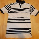 Retro Fox Black White stripe short sleeve polo short Youth stripe polo shirt M
