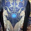 Sublimation Cheetah image long sleeve T-SHIRT Black sublimationT shirt M-2X