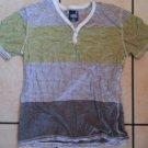 White Yellow short sleeve Hensley t-shirt Mens stripe short sleeve t-shirt L