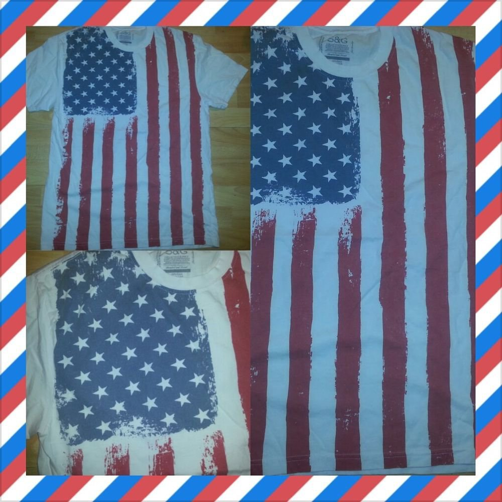RED WHITE BLUE USA FLAG Short sleeve T-shirt American Flag Fashion Tee  S-XL