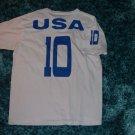 Mens blue white short sleeve soccer T shirt USA white short sleeve soccer tee LG