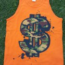 Camouflage Dollar sign sleeveless tank top Orange dollar sign tank top  M