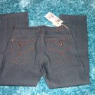 Mens black denim jean pants by DEUCE  W32-42 Mens black raw denim jean pants