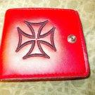 "Truck Skater Mens 4"" Wallet Mens Red Wallet Red Cross Monogram Leather Wallet"
