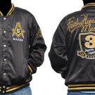 Masonic Masonary Satin Jacket Freemason Mason Black Satin Race Jacket M-5X