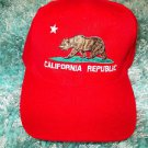 California Republic Red adjustable Baseball Hat Cap Golden State Bear Cap Hap