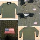 MEN'S USA  AMERICAN FLAG JULY 4 brown Long Sleeve Patriotic Polo Shirt L NWOT