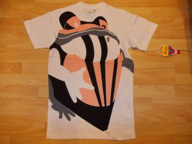 Mens white short sleeve T shirt Mens HOT AIR skater tee Bull Frog T-shirt  M-2XL