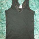 Black short sleeve T shirt Womens Black Lace rose print short sleeve T shirt L