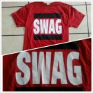 "Red Black Short sleeve SWAG T shirt Swagger T shirt Unisex ""SWAG"" T-Shirt M-XL"