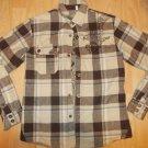 Youth tan cream Long sleeve plaid shirt Boy Plaid Flannel Shirt Heavy Weight S