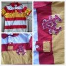 AKADEMIKS Red Yellow stripe Polo Shirt Men's red short sleeve polo shirt S-XL
