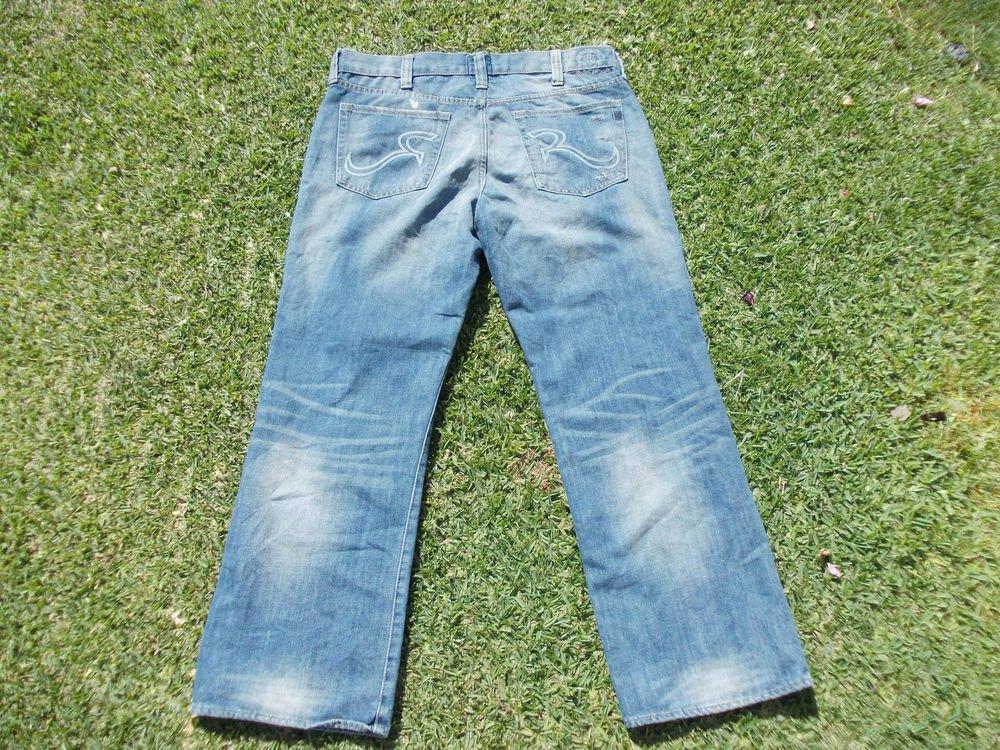 ROCK & REPUBLIC blue denim jean pants Men relax fit denim jean Pants 40WX30L IRG