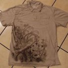 K-LOVE Vintage style Gray short sleeve polo shirt Soft cotton polo shirt M NWT