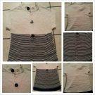 Leslie Steven Women Two tone Stripe cream black Long Sleeve Jumper Sweater Dress