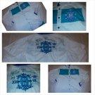 Bare Fox White Blue Aqua Long sleeve button up shirt Casual long sleeve shirt 2X