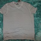 Kenneth Cole Reaction Gray White Stripe V NECK T SHIRT Men V neck T shirt  XL