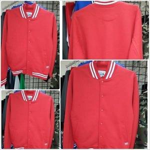 Red White Cotton Long Sleeve Varsity Jacket PRO CLUB Varsity Jacket Coat S-7X