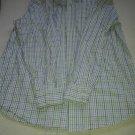 Green white blue long sleeve plaid button up casual dress shirt Plaid shirt L