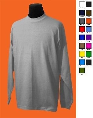 GRAY LONG SLEEVE T-SHIRT by PRO CLUB LONG SLEEVE COMFORT T SHIRT S-3X 6PACK