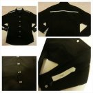 Mens Black Long sleeve button up shirt Black White long sleeve dress shirt M
