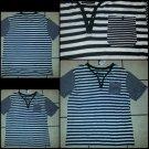 Black white short sleeve button up V neck shirt stripe casual dress shirt 2XL