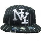 Black White Pin Stripe Fitted Baseball Hat 7 3/4 New York  Fitted Baseball Cap