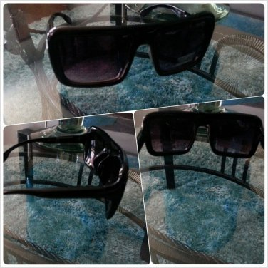 Mens Womens Unisex sun shades 80's Nerd style Black square LENS SUN-GLASSES