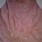 Akademiks red white long sleeve plaid button up casual dress shirt  SZ L
