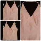 Feline Ladies Womens sleeveless Pink polyester Blouse Zip up sleeveless Top M