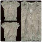 Forever 21 Ladies Womens short sleeve Tan White pin stripe BlouseTop Sz S/P NWT