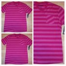 Pink stripe short sleeve V neck T shirt Mens Pink Stripe V-neck pocket shirt XL