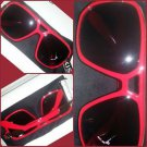 Mens Womens Unisex  80's Gazelle style glasses RED square LENS SUN GLASSES #2