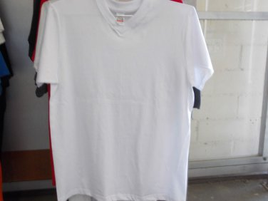 WHITE SHORT SLEEVE V-NECK T SHIRT by PRO CLUB FITTED V NECK T SHIRT 6 PACK