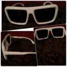 Mens Womens Unisex sunglass 80's vintage style White square LENS SUN-GLASSES