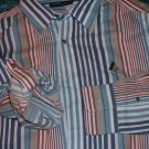 Mens blue white red long sleeve button up shirt by Rocawear long sleeve shirt LG