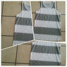 White Gray Stripe tank top T- shirt Men's Casual Fashion Tank Top shirt  L