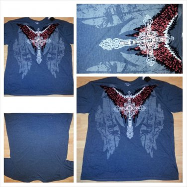 KANJI JEAN heather gray short sleeve T shirt Cross image short sleeve T-shirt 4X