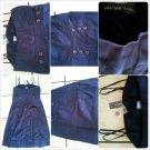 Womens Dark Blue Cotton Sleeveless Dress Lady's Spaghetti strap casual dress SZ6