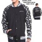 Black Gray Cotton Long Sleeve Varsity Jacket Akademiks Camoflauge Jacket  L-3X