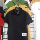 Black Padded SHORT SLEEVE ROUND T-SHIRT HOODIE EXTENDED CURVED T-SHIRT S-2X