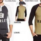 Mens long sleeve henley t-shirt Crown holder Marley Henley Olive T-shirt S-3X