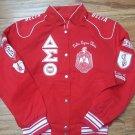 Delta Diva Twill Sorority Jacket Delta Sigma Ooo-oop Theta Red Race Jacket SML