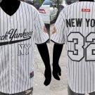 New York Black Yankees Negro League Baseball Jersey White Pinstripe NLBM top