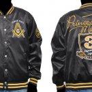 Prince Hall Mason Masonic  jacket Prince Hall Black Satin Fraternity Jacket M-5X
