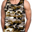 BROWN CAMOUFLAGE TANK TOP T-SHIRT HEAVY WEIGHT TANK TOP T-SHIRT TANK TOP TEE'S