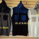 Black Blue sleeveless hoodie vest top Mens Sleeveless Casual Vest hoodie top M-2