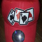 ACE OF SPADES DAD HAT DECK OF CARDS RED BASEBALL HAT GAMBLER CARD HAT CAP
